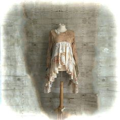 Pink Sunshine Shabby Steampunk Funky ragdoll upcycled knit floral rustic Boho altered Clothing dress top tunic artsy lagenlook lace layered by PinkSunshineShabby on Etsy https://www.etsy.com/listing/491076643/pink-sunshine-shabby-steampunk-funky