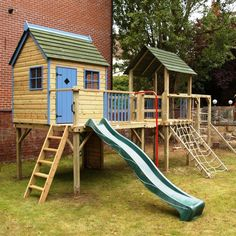 Climbing frame playhouse | monkey bars | clatter bridge  http://www.playways.co.uk