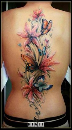 Back butterfly in color tattoo