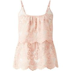 Nude Double Layer Lace Cami ($49) ❤ liked on Polyvore featuring intimates, camis, lace cami, miss selfridge, layering cami, layering camisole and lacy camisole