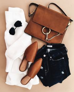 fall fashion outfit, chloe handbag, mules, mules for fall, styling mules, tan mules, white button down, black jeans, fall fashion, fall style, styling for fall, flat lay, fall flat lay