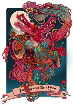 Clippingpaper - Illustration Character Design by David Sossella – Flying Crocodiles Graphic Design Illustration, Graphic Art, Illustration Art, Illustrations, Crocodile Illustration, Vexx Art, Arte Indie, Samurai Art, Tatoo Art