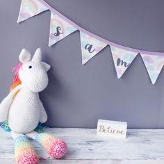 Personalised Baby Gift / Rainbow cloud bunting/ Nursery Bunting / personalised bunting / name bunting / handmade bunting by on Etsy Name Bunting, Nursery Bunting, Nursery Themes, Themed Nursery, Unicorn Themed Birthday Party, 1st Birthday Gifts, Baby 1st Birthday, Rainbow Bunting, Rainbow Cloud