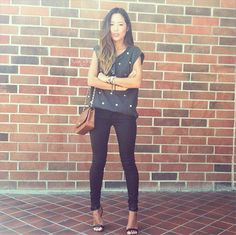 Song of Style blogger Aimee Song in 7FAM's The Skinny in Shiny Polished Black #7After7 #7FAM