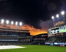 Beautiful night at Progressive Field! Only bad part is the tarp on the field.