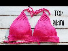 Cómo tejer un bikini fácil en dos agujas: el top-parte de arriba - YouTube