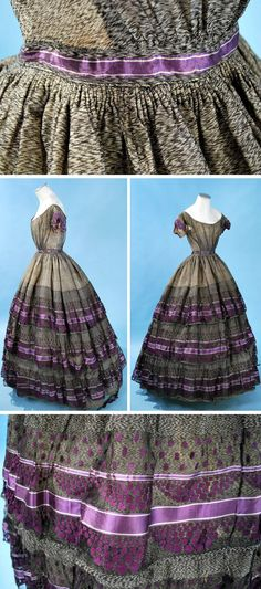 Evening dress ca. 1865. Broad off-the-shoulder decolletté bodice, V-point gathering into waistband. Back hook & eye closure; cotton lining with long front stays. Full skirt with tight cartridge pleating around waist. Layers of sheer purple silk ribbon in stripes & polka dots. Lined in sarcenet, with wool twill tape floor brush. Carolyn Forbes Textiles/ebay