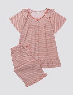 Kids Nightwear, Cute Sleepwear, Girls Sleepwear, Night Suit For Girl, Girls Night Dress, Pyjamas, Pjs, Sewing Collars, Myanmar Dress Design