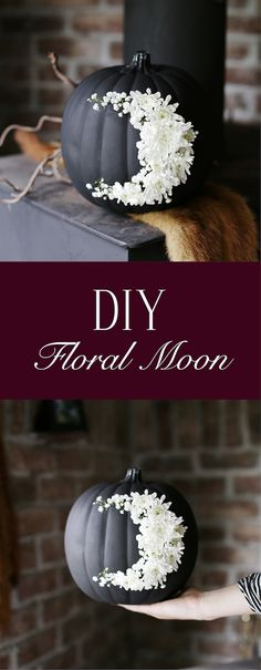 This DIY Fresh Floral Moon Pumpkin is an elegant and unique twist to your Halloween decor. #Ad