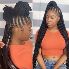 22 Inches 6 Packs Crochet Box Braids, 22 strands/pack, Usually 6 Packs can be full a head. 4 colors optional, box braids mediuim brown and black. Curled Hair With Braid, Braids With Curls, Braids For Short Hair, Braids Easy, Long Braids, Braided Hairstyles For Black Women Cornrows, Feed In Braids Hairstyles, Protective Hairstyles, Easy Hairstyle