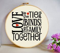 Love is the Tie that Binds This Family Together Cross Stitch Pattern PDF Instant Download Uplifting and Positive Quote Modern Room Decor by HeritageStitch on Etsy