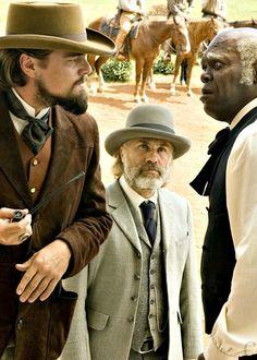Leonardo DiCaprio, Christoph Waltz and Samuel L. Jackson in Django Unchained.