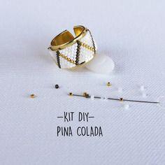 Kit bijoux bague tissage perles miyuki  - blanc or - modèle pina colada*