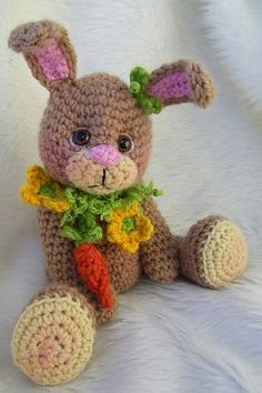 Simply Cute Bunny Toy - $4.95 by Teri Crews Designs | Bunny Rabbits Part 2 - Animal Crochet Pattern Round Up - Rebeckah's Treasures