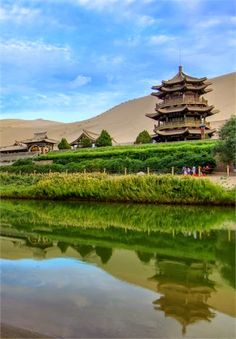 The Crescent Moon Lake in Dunhuang