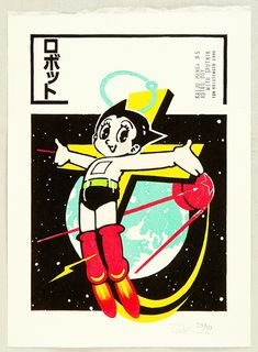 Woodblock print by Tom Kristensen born 1962 Title: Kaiju Manga - Astro Boy with . - Woodblock print by Tom Kristensen born 1962 Title: Kaiju Manga – Astro Boy with … Woodblock p - Graphic Design Posters, Graphic Design Typography, Graphic Design Illustration, Graphic Design Inspiration, Japanese Pop Art, Japanese Cartoon, Japanese Graphic Design, Astro Boy, Japan Illustration