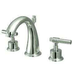 """Kingston Brass Milano Two Handle 8"""""""""""""""" to 16"""""""""""""""" Widespread Lavatory Faucet with Brass Pop-up - Polished Chrome"""