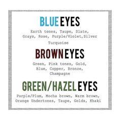Love this handy guide for eyeshadow colours for your colour eyes  #eyes #eyeshadow #colours #blueeyes #browneyes #greeneyes #hazeleyes #makeup #makeupartist #instamakeup #michellekmakeup