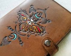 Leather Journal Night Moon Man in the Moon Hand by MesaDreams