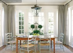 Love the white walls and grey drapes