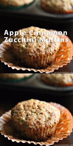 Apple Cinnamon Zucchini Muffins – a muffin with a fruit and a vegetable so you don't have to feel guilty about eating three. Apple Recipes, Baby Food Recipes, Dessert Recipes, Cooking Recipes, Apple Zucchini Muffins, Healthy Apple Muffins, Healthy Muffins For Kids, Vegetable Muffins, Healthy Breakfast Muffins