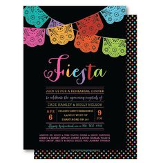 Papel Picado Mexican Themed Party / Rehearsal Dinner Invitation