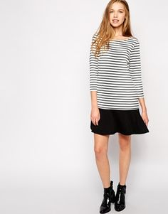 Enlarge Vila Striped Dropwaist Dress With Long Sleeves