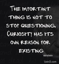 Positive Quote The important thing is not to stop questioning. Curiosity has its own reason for existing. Albert Einstein
