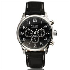 2016 Fashion JARAGAR Automatic Mechanical Self-Wind Sport Thin Case Calendar 24Hour Week Dial Real Leather Strap Men Wrist Watch - Online Shopping for Watches