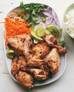 Coconut-Lime Chicken with Thai Garnishes - Martha Stewart Recipes--this is what's for dinner tonight! Coconut Lime Chicken, Thai Coconut, Coconut Milk, Asian Recipes, Healthy Recipes, Thai Recipes, Duck Recipes, Asian Foods, Healthy Foods
