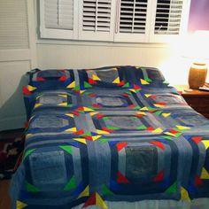 Denim quilt I made for the Seney (MI) Snowmobile club fundraiser.