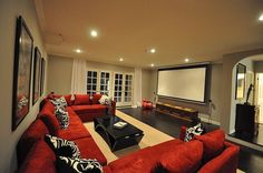 Basement home theater: love the simple design, not so much the colors
