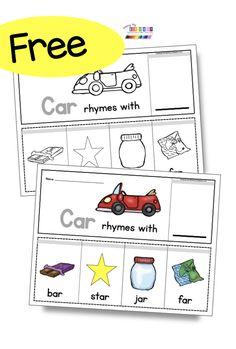 FREE RHYMING ACTIVITIES for back to school in kindergarten word families