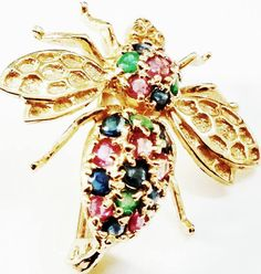 Vintage 14K Gold Bumble Bee Brooch/Pendant With by QVintage