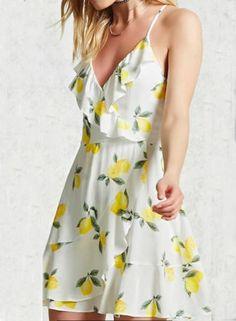 #BFCM #BlackFriday #CyberMonday #Oasap.com - #Roawe Women's Cute Lemon Print Slip Dress - AdoreWe.com