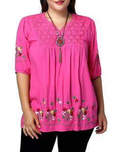 Ethnic Plus Size Flower Embroidered V Neck Women's Blouse