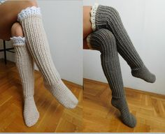 This listing is a Crochet PATTERN for knee high socks (or over the knee) with lace top, NOT a finished socks! Pattern is written in American Crochet terms and include 10 pages with 50 step by step pictures. Pattern includes directions on how to make croch Boy Crochet Patterns, Crochet Socks Pattern, Basic Crochet Stitches, Crochet Slippers, Crochet Basics, Baby Patterns, Crochet Ideas, Crochet Projects, Knitting Patterns