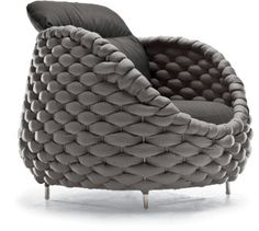 Rapunzel Easy armchair with steel frame, outdoor-foam filling, and Sunbrella upholstery by Kenneth Cobonpue
