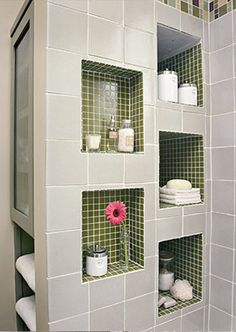 bathroom ideas-standing shower for master needs shelves.