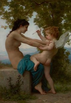 A Young Girl Defending Herself against Eros. By Adolphe William Bouguereau. French, 1880. Oil on canvas.A nude young woman sits on a bench pushing away Cupid, the god of love. Bouguereau painted this mythical fantasy using one of his favorite models.