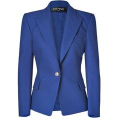 BALMAIN Gipsy Blue One Button Stretch Cotton Blazer ($1,498) ❤ liked on Polyvore featuring outerwear, jackets, blazers, coats, tops, balmain blazer, one button blazer, balmain jacket, blue jackets and balmain