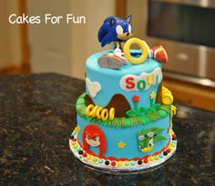 Sonic the Hedgehog - Cake by Cakes For Fun Sonic Birthday Cake, Sonic Birthday Parties, Twin Birthday Cakes, Sonic Party, 5th Birthday Party Ideas, Baby Boy Birthday, Bolo Sonic, Sonic Cake, Thunderbirds Cake