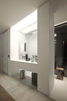Shower behind the vanity.  Great piece of work, but a bit strange.