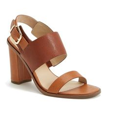 "Via Spiga 'Baris' Leather Slingback Sandal , 4"" heel ($135) ❤ liked on Polyvore featuring shoes, sandals, embellished sandals, leather slingback sandals, buckle sandals, high heel sandals and ankle strap sandals"