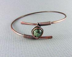 Copper Bracelet Wire Wrapped Bracelet African by PolymerPlayin #wirejewelry