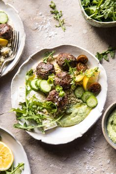 Greek Lamb Meatballs with Avocado Goddess Sauce: What's amazing about this recipe is that even though it's loaded with flavor and texture, it's actually very simple and easy to make. Simple, quick, light, healthy, delicious, and pretty much the most perfect weeknight dinner. @halfbakedharvest.com