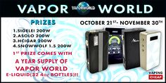 Enter to win one of for 200w box mods and a 1 year supply of ejuice from Vapor World at http://VapingCheap.com