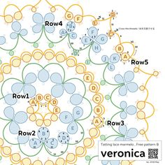 Free pattern B, veronica – tatting lace, Marmelo - Tatting Ideen 2019 Shuttle Tatting Patterns, Needle Tatting Patterns, Needle Tatting Tutorial, Veronica, Tatting Lace, Doily Patterns, Lace Making, Bobbin Lace, Embroidery Thread
