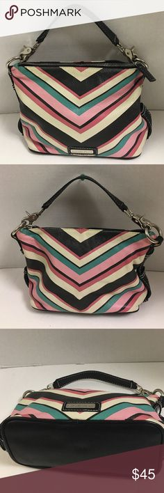 Isabella Fiori Leather baguette This is an soft leather baguette with removable strap that can be carried as a clutch. Zip top closure. Pink green black and white chevron stripe print.  Zips at the top. Pink lining. Bag is in excellent condition. Isabella Fiore Bags Mini Bags