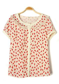 Multicolor Red Bird Collarless Buttons Chiffon Blouse